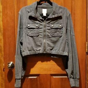 Candie's Black Denim Cropped Jacket Size XL